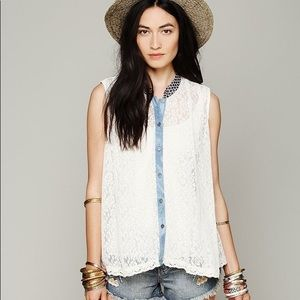 FP Button Up Sleeveless Lace Top